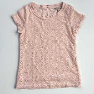 Banana Republic Tops - Banana Republic Pale Pink Embroidered Overlay Top